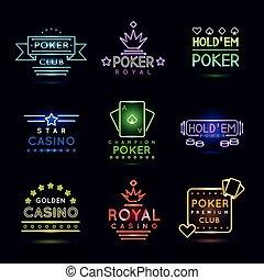 Neon light gambling emblems. Poker club and casino vector sign set