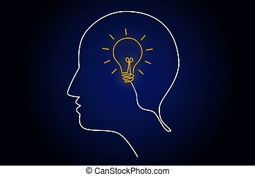 Neon light head idea with light bulb inside human head, creating new idea concept, vector illustration