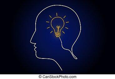 Neon light head idea with light bulb inside human head, creating new idea concept, vector illustration