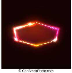Neon light hexagon on dark red background. Red, pink and yellow electric hexagonal geometric shape with electricity sparkles and flashes. Glowing vector illustration.