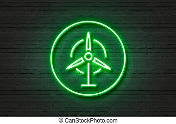 Neon light icon wind rose