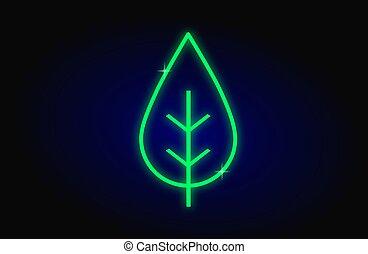 Neon light leave icon on blue dark background, renewable energy  concept,vector illustration