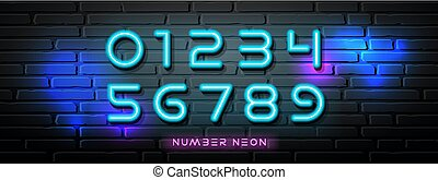 Neon Light number vector collections design on block wall