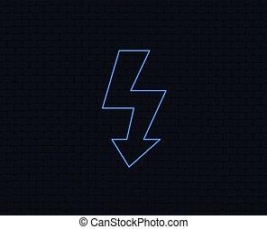 Photo flash sign icon. Lightning symbol. - Neon light. Photo...