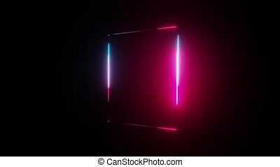 Neon light rectangle frame on dark background. 3D illustration video