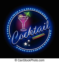 Neon Light signboard for Cocktail shop - easy to edit vector...