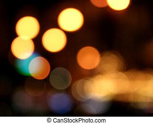 Decorative neon lights in soft focus.
