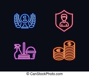 Household service, Security agency and Laureate award icons. Currency sign.