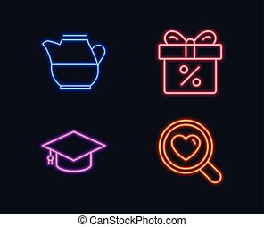 Milk jug, Graduation cap and Discount offer icons. Search love sign. Fresh drink, University, Gift box.