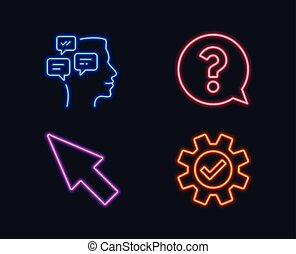 Mouse cursor, Question mark and Messages icons. Service sign. Click arrow, Help support, Notifications.