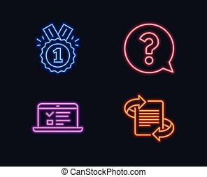 Question mark, Approved and Web lectures icons. Marketing sign. Help support, Winner badge, Online test.