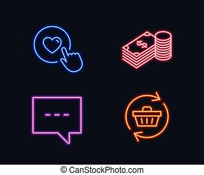 Savings, Blog and Like button icons. Refresh cart sign. Finance currency, Chat message, Press love.