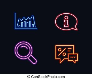 Search, Infographic graph and Information icons. Discounts sign. Magnifying glass, Line diagram, Info center.