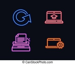 Typewriter, Website education and Reload icons. Notebook service sign. Writer machine, Video learning, Update.