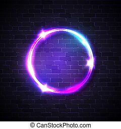 Neon lights sign. Circle background on brick wall. Electricity effect. Glowing electric led lights banner. Round frame with sparkle flash. Bright circle logo design. Abstract night vector illustration