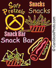 Neon Lights Snack bar 1 - An assortment of product sign sets...