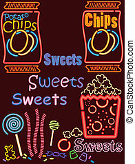 An assortment of product sign sets you may find at a snack bar in a neon lights theme. Images are interchangeable. The last set of this version. Others are available in this series.