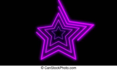 Neon lines stars shape drawning on with full loop-ready rotation. Purple or violet colored bright lines on a black background. CG animation 3d rendering. Seamless loop. Motion animated background