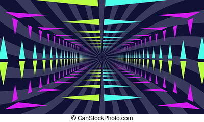 Neon lit moving tunnel