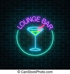 Neon lounge cocktails bar sign on dark brick wall background. Glowing gas advertising with glasses of alcohol shake.