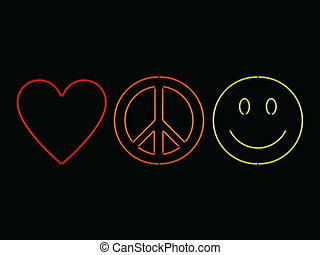 Neon love peace and happiness