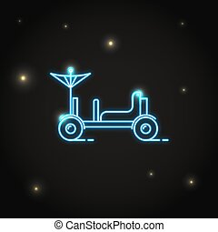 Neon lunar rover icon in thin line style