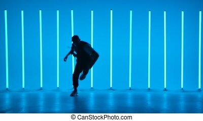 neon, młody, tło, facet, breakdancer, chmiel, silhouette., powolny, chłodny, motion., poster., lamps., breakdancing, taniec, barwny, biodro, szkoła