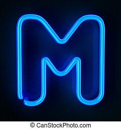 neon, m, lettera, segno