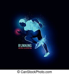 Neon Man Runner Vector