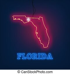 Neon map State of Florida on dark background.