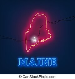 Neon map State of Maine on dark background.