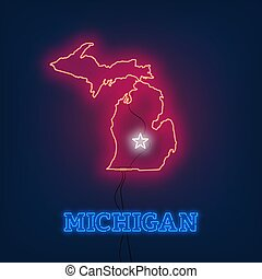 Neon map State of Michigan on dark background.