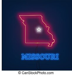 Neon map State of Missouri on dark background.