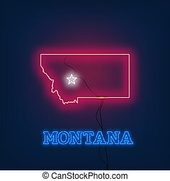 Neon map State of Montana on dark background.