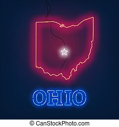 Neon map State of Ohio on dark background.
