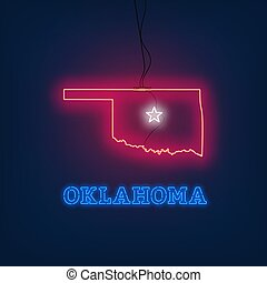 Neon map State of Oklahoma on dark background.