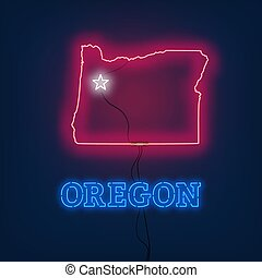 Neon map State of Oregon on dark background.