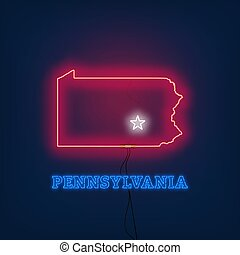 Neon map State of Pennsylvania on dark background.