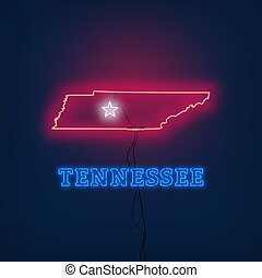 Neon map State of Tennessee on dark background.