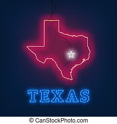 Neon map State of Texas on dark background.