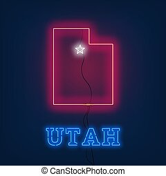 Neon map State of Utah on dark background.