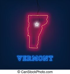 Neon map State of Vermont on dark background.