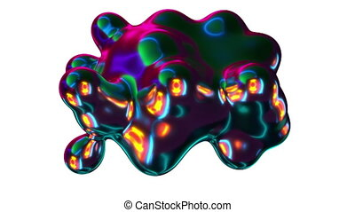Computer generated iridescent metaball. Division and merger spherical shapes in the space. 3d rendering abstract background