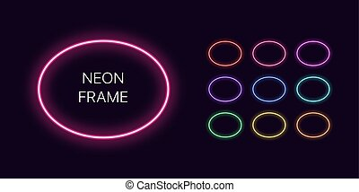 Neon monochrome oval Border with copy space. Templates set