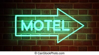Neon motel sign means motor Lodge available for accommodation. Holiday or travel room at road guest house - 4k