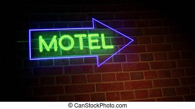 Neon motel sign shows motor Lodge location for accommodation. Holiday or travel room at road guest house - 4k