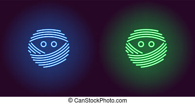 Neon mummy face in blue and green color