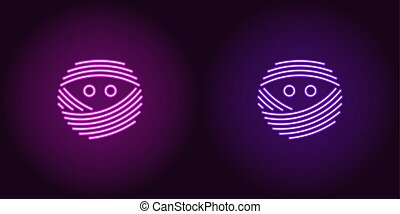 Neon mummy face in purple and violet color