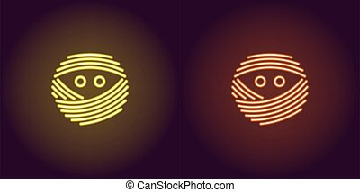 Neon mummy face in yellow and orange color