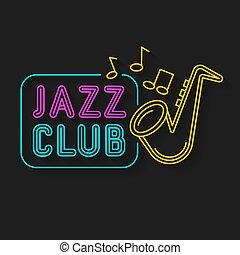 Neon Music Jazz Sign On A Dark Background. Vector